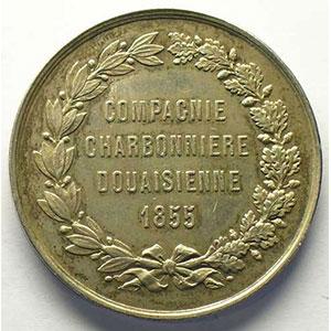 Compagnie Charbonnière Douaisienne   1872   jeton rond en argent   37mm    SUP