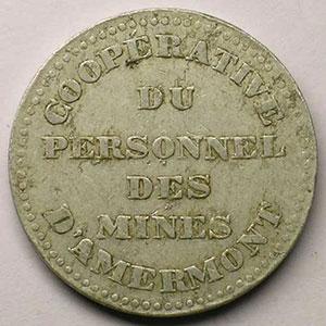 Coopérative du Personnel des Mines d'Amermont   BON POUR UN LITRE DE LAIT   Aluminium   rond   30 mm   TB+/TTB