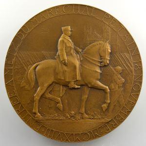 Dammann 1922   Entrée à Metz du Maréchal Pétain 18 novembre MCMXVIII   Médaille en bronze  68mm    SUP/FDC