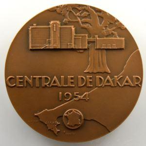 Delamarre   Compagnie des Eaux et Electricité de l'Ouest Africain 1910   Centrale de Dakar 1954   bronze   68 mm    SUP/FDC