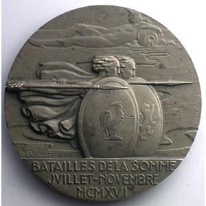Delannoy   Bataille de la Somme  MXMXVI   Médaille en argent  59mm    SUP