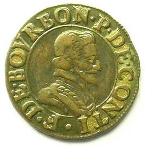 Double Tournois au col plat   (François de Bourbon-Conti 1605-1614)   nd    TTB