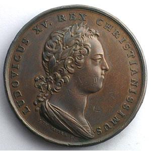 DU VIVIER   Le Duc François III rendant hommage au roi Louis XV   I fév. 1730   bronze   41mm    TTB+/SUP