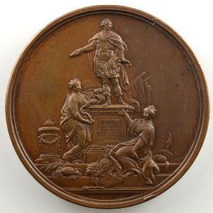 F. Marteau   Pose de la première pierre de la statue de Louis XV à Rennes   bronze   41mm    SUP/FDC