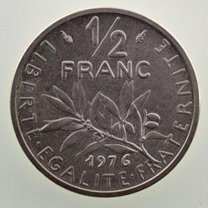 G.429P   1/2 Franc   1976  Piéfort en argent    SUP