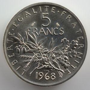 G.770P   5 Francs   1968  Piéfort en argent    SUP/FDC