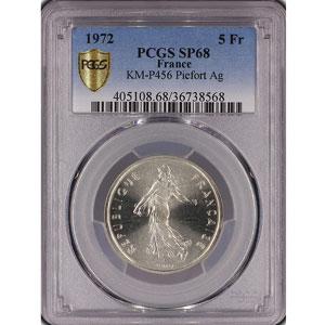 G.771P   5 Francs   1972  Piéfort en argent    PCGS-SP68    FDC