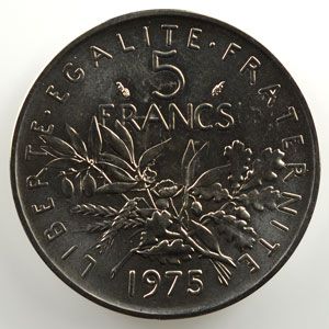 G.771P   5 Francs   1975 nickel    FDC