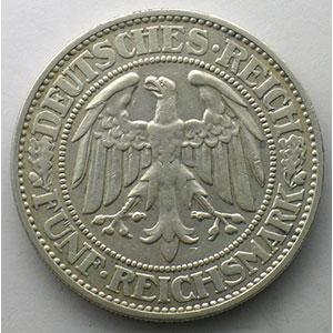 GDM 25   5 Reichsmark   1928 J   Eichbaum    TTB