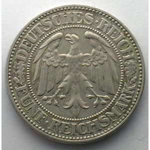 GDM 25   5 Reichsmark   1931 G   Eichbaum    TTB