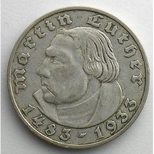 GDM 92   2 Reichsmark   1933 F   Martin Luther    TTB