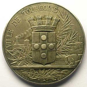 GRAU   Ville de Tourcoing   argent   46mm   1907    SUP