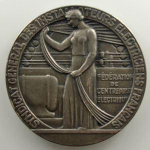 GRUN   Médaille en argent  50mm   Marseille - Chambre syndicale de l'industrie électrique   1938    SUP/FDC