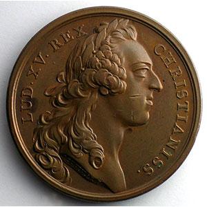 J.Duvivier/non signée   Pose de la première pierre de la statue équestre de Louis XV à Paris   bronze   41mm    SUP