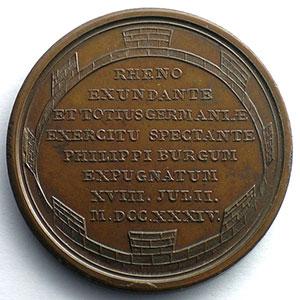 J.Duvivier/non signée   Prise de Philippsbourg   bronze   41mm    SUP/FDC