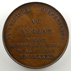 J. Leclercq   Médaille en bronze  39mm   Baron E.L. Surlet de Chokier, régent de Belgique    SUP