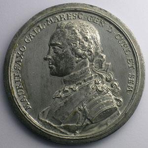 Jean Daniel Kamm   Mausolée de Maurice de Saxe à Strasbourg   étain 56mm    TTB+
