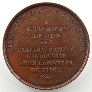 JEHOTTE L.   LéopoldI   Médaille en bronze 50mm   Canal de Liège à Maestricht    SUP
