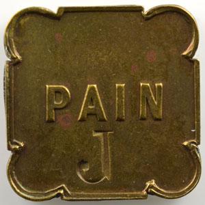 Jeton carré aux coins arrondis en laiton   23mm   PAIN contremarqué J    TTB+