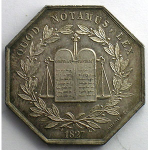 Jeton octogonal en argent   1827    SUP/FDC