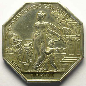 Jeton octogonal en argent   30mm   Louis XVIII   Incendie   1813 date erronée    TTB+