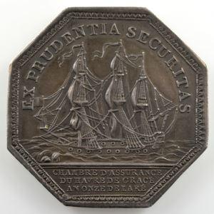 Jeton octogonal en argent  33mm   Maritime   Consulat   1802  An onze de la République    SUP