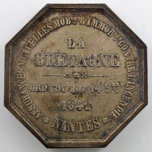 Jeton octogonal en argent   34mm   Nantes   1842   Incendie    SUP