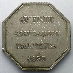 Jeton octogonal en argent   Assurances maritimes   1838    TB+