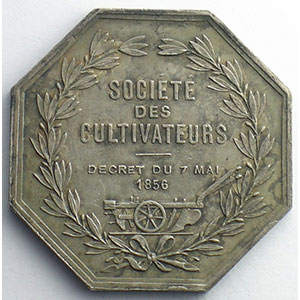 Jeton octogonal en argent   Mortalité du Bétail   1856    TTB+