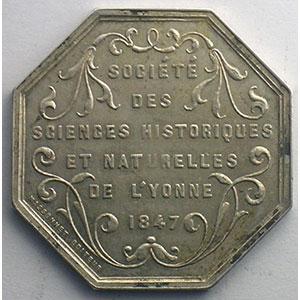 jeton octogonal en argent   Yonne   1847    SUP