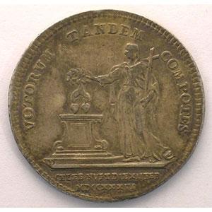 Jeton rond en argent du mariage   27mm   12 fév. 1736    TTB