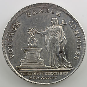 Jeton rond en argent du mariage   27mm   12 fév. 1736    TTB+/SUP