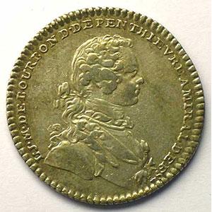 jeton rond en argent   L.J.M. de Bourbon de Penthièvre   1740    TTB