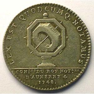 Jeton rond en argent   Louis XV   1748    TTB