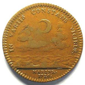 jeton rond en cuivre   L. Alexa. De Bourbon   29mm   1726    TB+/TTB