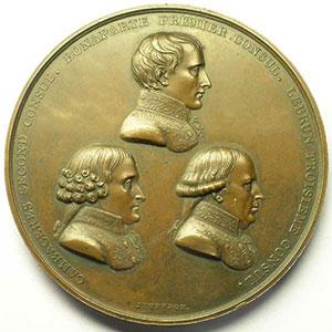 JEUFFROY   Promulgation du traité d'Amiens   1802   bronze   68 mm    SUP