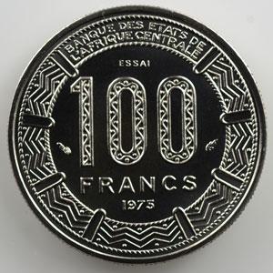KM E6   100 Francs   1975 Essai    FDC