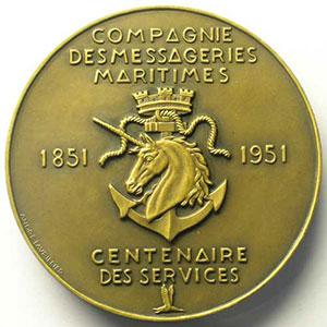 Lavrillier   Compagnie des Messageries Maritimes   Centenaire des services 1851-1951   bronze   59mm    SUP