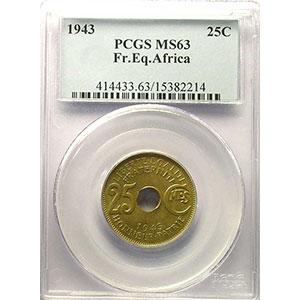 Lec.7   25 Cent.   1943 Prétoria    PCGS-MS63    SUP/FDC