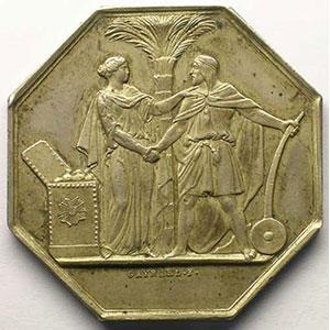 Lec.72   Jeton octogonal en argent   Banque de l'Algérie    SUP