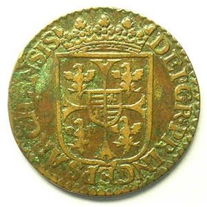 Liard au grand buste   (Charles I de Gonzague 1601-1637)   1614    TB+