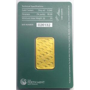 Lingotin 20 g or 999,9 mill.   Perth Mint Australia     NEUF sous blister numéroté