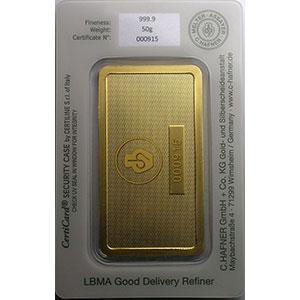 Numismatic foto  Münzen Gold & Silber Goldbarren Lingotin de 50 g Lingotin 50 g or 999,9 mill.   C-HAFNER seit 1850  Germany    NEUF sous blister numéroté
