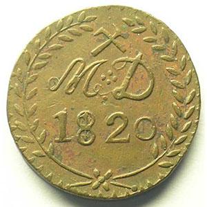 Mines d'Aniche   30 Sous   Cuivre jaune , R  28mm   1820    TTB+