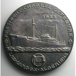 MULLER   Charles Lefèbvre, président des Cargos algériens 1878-1949   1952   argent   68mm    SUP/FDC