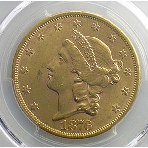 Numismatic foto  Münzen Ausländische Münzen Vereinigte Staaten von Amerika 20 Dollars tête de Liberté 1876-S  (San Francisco)   PCGS-AU58    SUP