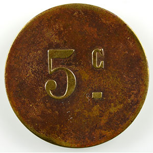Numismatic foto  Münzen Französische Kolonialmünzen Algerien Alger, Sté Coop. ALTAIRAC Lec.186a   5 c   Lt, R   21mm    TTB