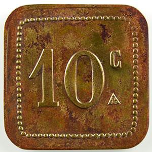 Numismatic foto  Münzen Französische Kolonialmünzen Algerien Alger, Sté Coop. ALTAIRAC Lec.186b var.   10 c   Lt, carré coins arrondis   23,5mm    TTB