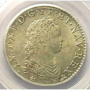 Numismatic foto  Münzen Französische königlische Münzen Louis XV   (1715-1774) G.308   1/2 Ecu Vertugadin 1716 B  réf.  (Rouen)    PCGS-MS63    SUP/FDC