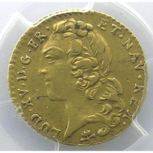 Numismatic foto  Münzen Französische königlische Münzen Louis XV   (1715-1774) G.330   Demi-Louis d'or au Bandeau 1746 S  (Reims)    PCGS-AU50    TTB/TTB+